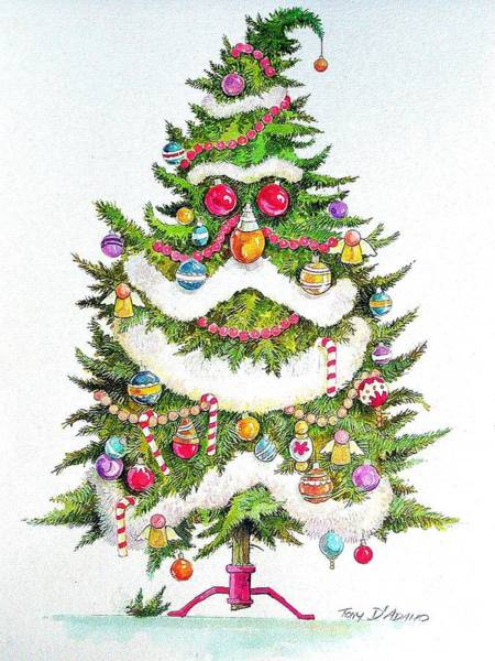 Evergreen Trees Drawing - O Tannenbaum by Tony D'Adamo