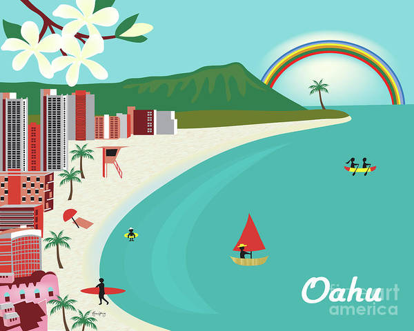 Oahu Hawaii Horizontal Scene Art Print