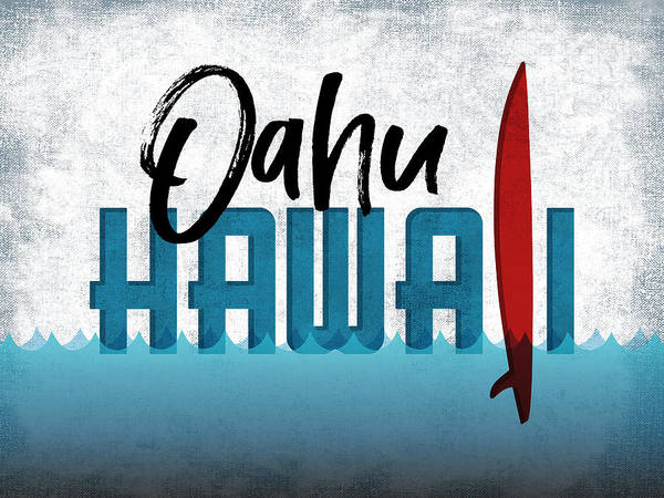 Oahu Red Surfboard	 Art Print
