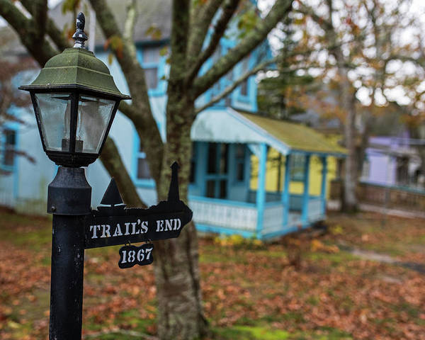 Photograph - Oak Bluffs Cottages Trail's End Sign Lat Autumn Fall Martha's Vineyard Cape Cod by Toby McGuire