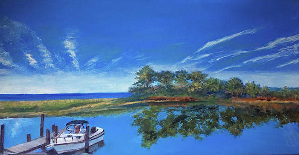 Painting - Oak Bluffs With Grady White by Lynne Atwood