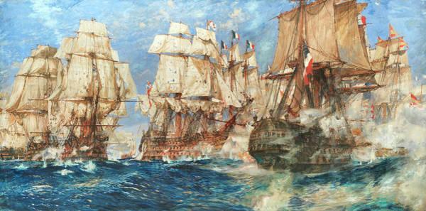 1805 Painting - Oak, Hemp, And Powder, Trafalgar, 1805 by Charles Edward Dixon
