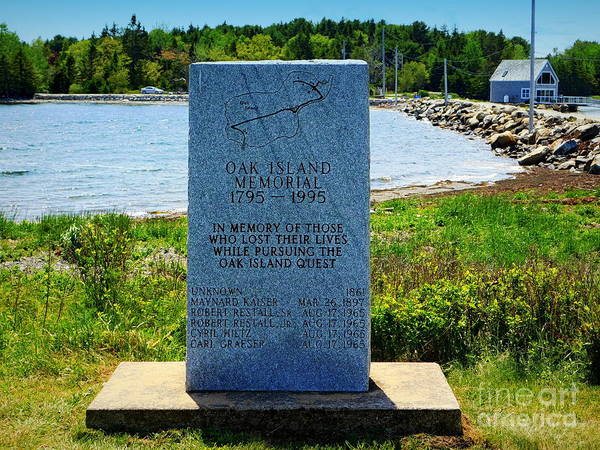 Treasure Hunt Wall Art - Photograph - Oak Island Memorial by Karen Cook