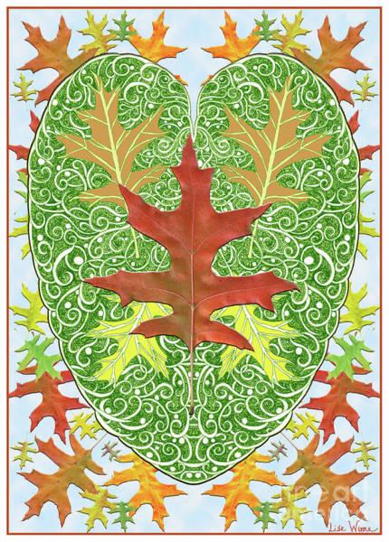 Digital Art - Oak Leaf In A Heart by Lise Winne