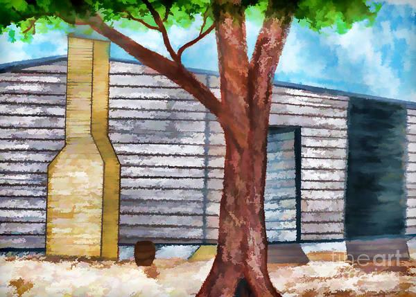 Drawing - Oak Tree By The Cracker Cabin by D Hackett
