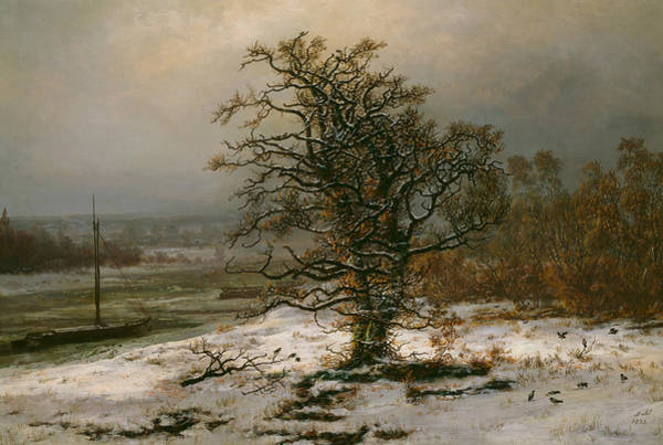 Painting - Oak Tree By The Elbe In Winter by Johan Christian Dahl