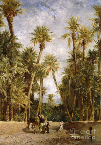 Camel Painting - Oasis At Lagrount  by Eugene Fromentin