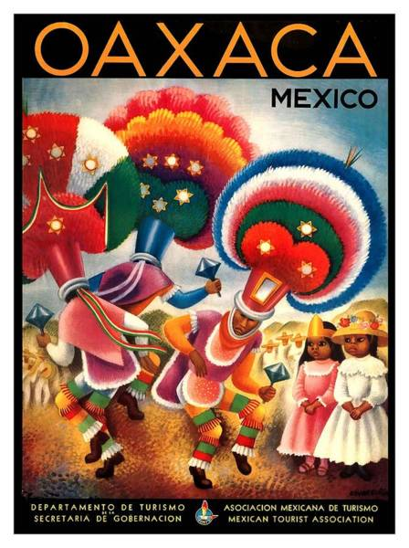 Indigenous Digital Art - Oaxaca Mexico Costumed Native Dancers Vintage World Travel Poster  by Retro Graphics