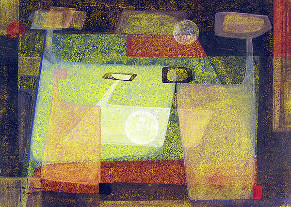 Abstractionism Painting - Ob1958br003 Indians In Space No.6 13x9.25 by Alfredo Da Silva