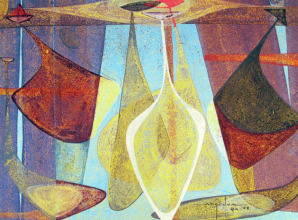 Abstractionism Painting - Ob1958br004 Indians In Space No.5 13.5x10 by Alfredo Da Silva