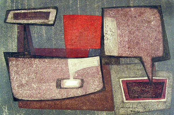 Abstractionism Painting - Ob1958br005 Indians In Space No.2 14.25x9.25 by Alfredo Da Silva