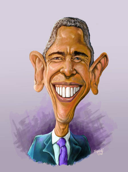 Midterm Wall Art - Painting - Obama Caricature by Anthony Mwangi