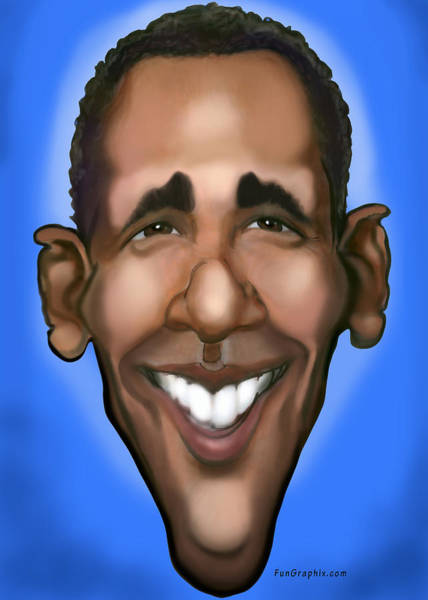 Painting - Obama Caricature by Kevin Middleton