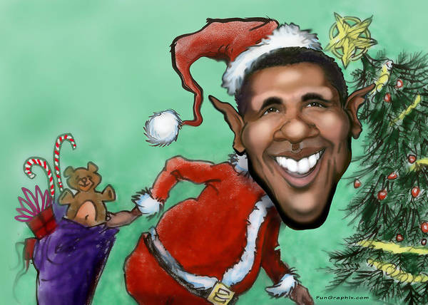 Digital Art - Obama Christmas by Kevin Middleton