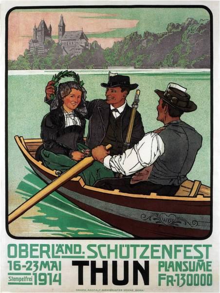 Shooting Mixed Media - Oberland Schotzenfest - Thun, Switzerland - Retro Travel Poster - Vintage Poster by Studio Grafiikka