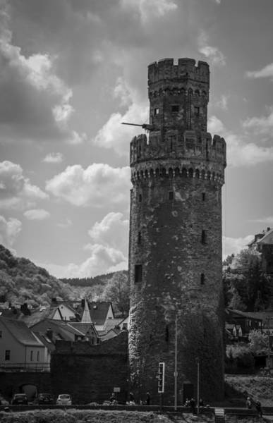 Wall Art - Photograph - Oberwesel Fortification Tower B W by Teresa Mucha