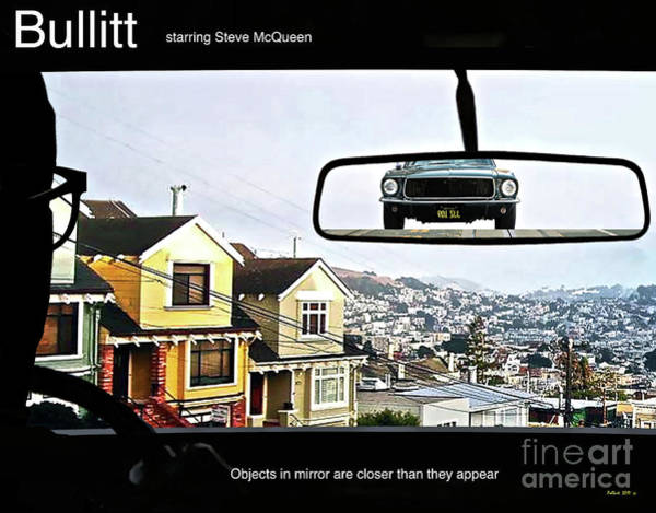 American Car Mixed Media - Objects In Mirror Are Closer Than They Appear, Buillitt, Steve Mcqueen by Thomas Pollart