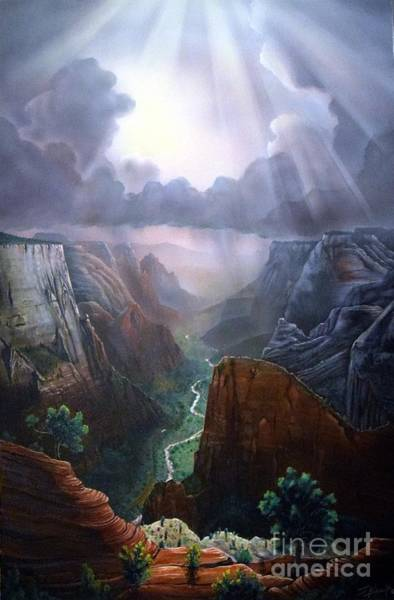 Zion Painting - Observation Point Zion by Jerry Bokowski