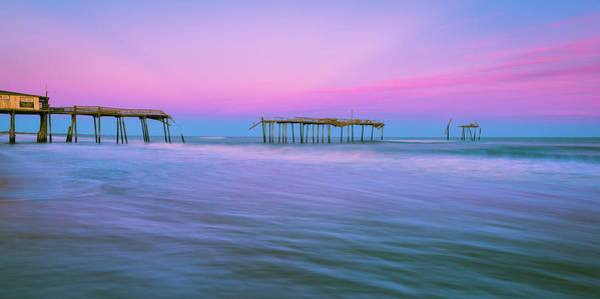Photograph - Obx Frisco Fishing Pier Sunset Panorama by Ranjay Mitra