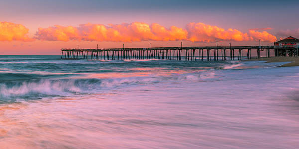 Photograph - Obx Rodanthe Fishing Pier Sunset Panorama by Ranjay Mitra