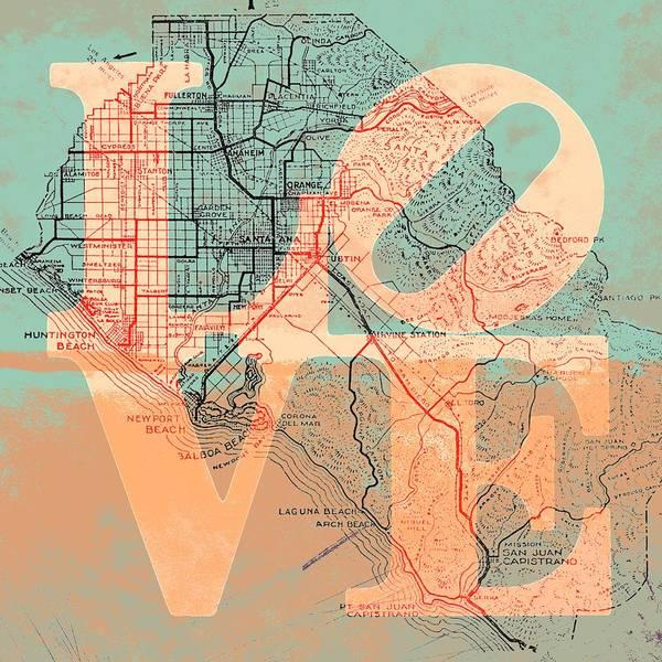 Orange County Digital Art - Oc Love V1 by Brandi Fitzgerald