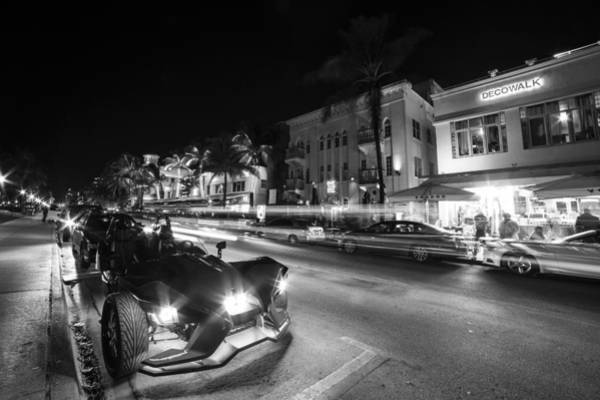 Photograph - Ocean Ave At Night Miami Florida Art Deco Black And White by Toby McGuire