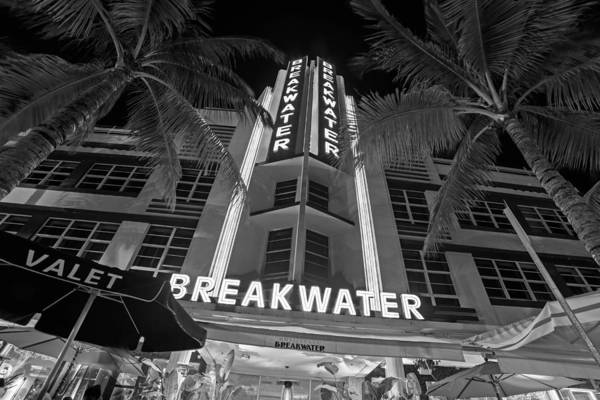 Photograph - Ocean Ave At Night Miami Florida Art Deco The Breakwater Black And White by Toby McGuire