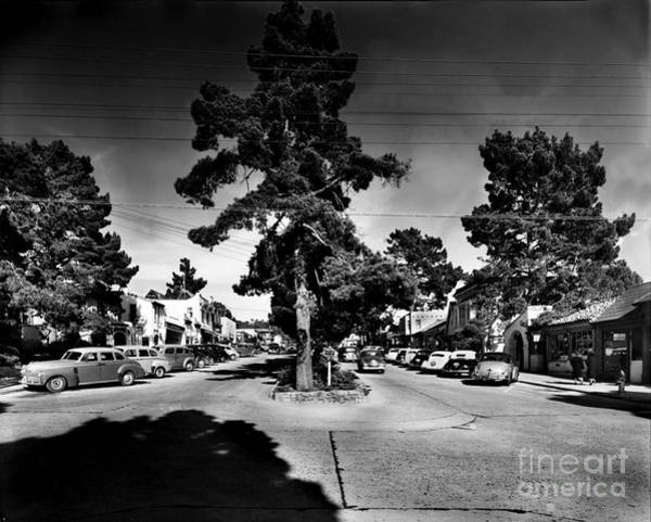 Photograph - Ocean Avenue At Lincoln St - Carmel-by-the-sea, Ca Cirrca 1941 by California Views Archives Mr Pat Hathaway Archives