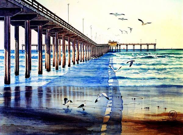 Gull Painting - Ocean Beach Pier by John YATO