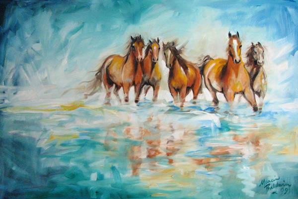Painting - Ocean Breeze Wild Horses by Marcia Baldwin