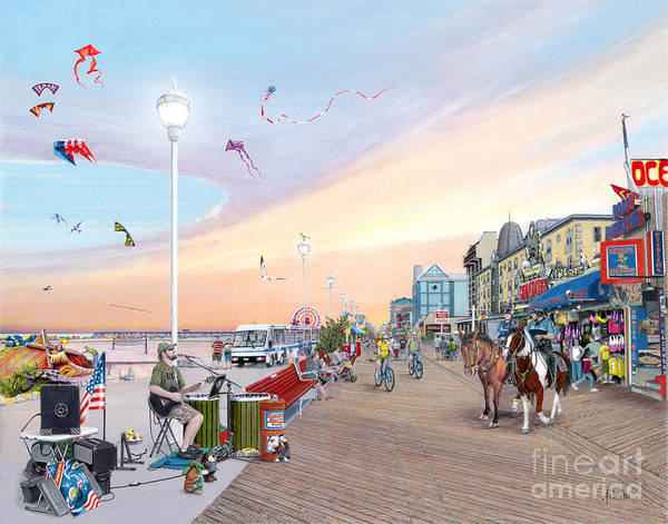 Skating Painting - Ocean City Maryland by Albert Puskaric