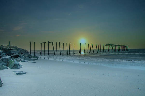 Photograph - Ocean City Sunrise - 57th Street Pier Ruin by Bill Cannon