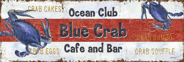 Blue Fish Painting - Ocean Club Cafe by Debbie DeWitt