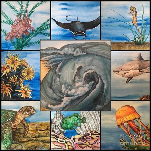 Mixed Media - Ocean Collage #1 by Mastiff Studios