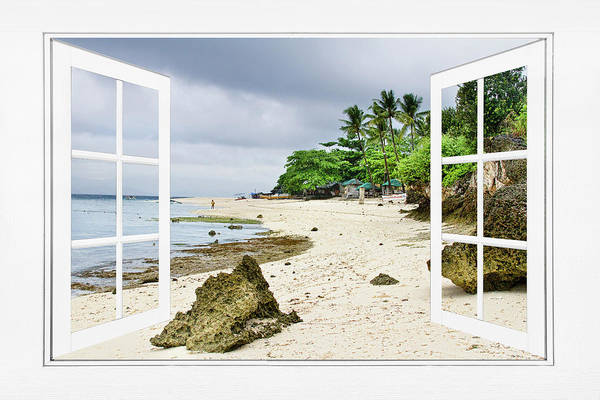 Oceanfront Photograph - Ocean Front Beach Open White Picture Window Frame Canvas Art Vie by James BO Insogna