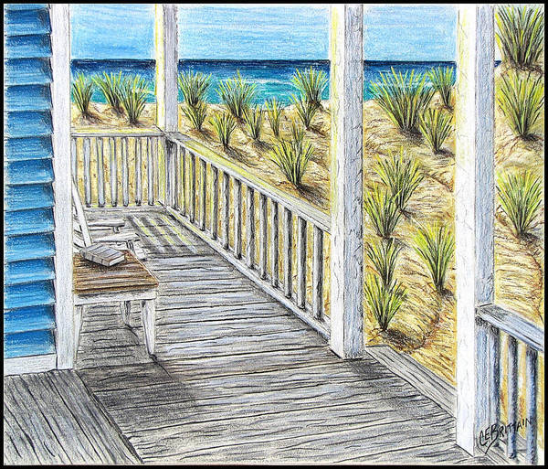 Front Porch Drawing - Ocean Front by Chad Brittain