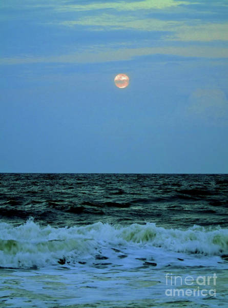 Photograph - Ocean Full Moon April 2016 by D Hackett