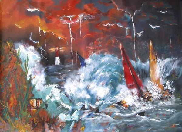 Painting - Ocean Fury by Miroslaw  Chelchowski