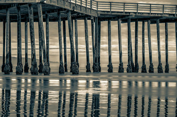 Photograph - Ocean Pier At Sunset - Nautical Prints In Sepia by Gregory Ballos