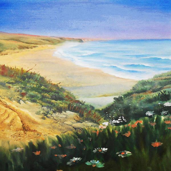 Sand Dune Painting - Ocean Shore And Sand Dunes  by Irina Sztukowski