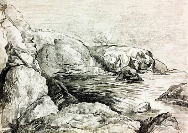 Beach Grass Drawing - Ocean Shore By Ivailo Nikolov by Boyan Dimitrov