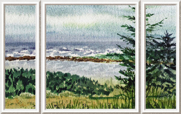 Baltic Sea Painting - Ocean Shore Window View by Irina Sztukowski
