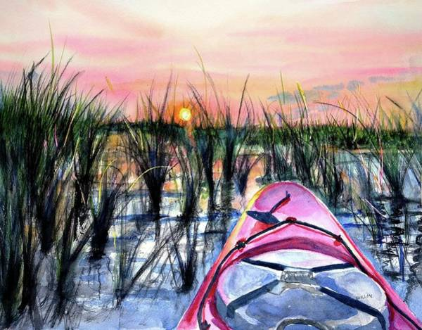 Painting - Ocean Sunrise Kayak by Carlin Blahnik CarlinArtWatercolor