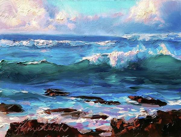 Wall Art - Painting - Coastal Ocean Sunset At Turtle Bay, Oahu Hawaii Beach Seascape by Karen Whitworth