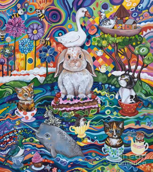 Zebra Cake Wall Art - Painting - Ocean Tea-party by Lynda Bell