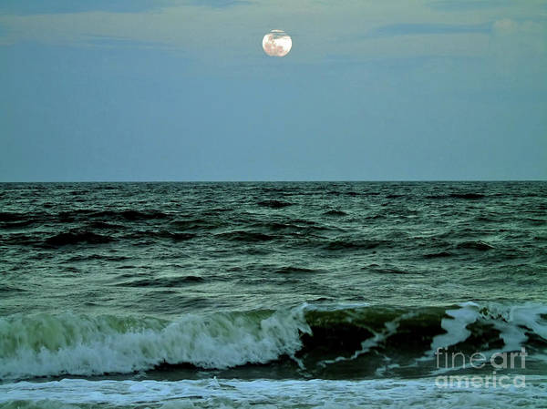 Photograph - Ocean Waves Full Moon by D Hackett
