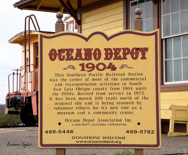 Red Caboose Painting - Oceano Depot 1904 by Barbara Snyder