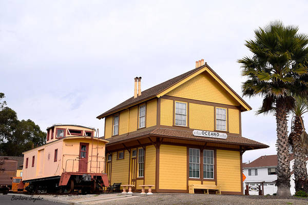 Red Caboose Painting - Oceano Depot Museum by Barbara Snyder