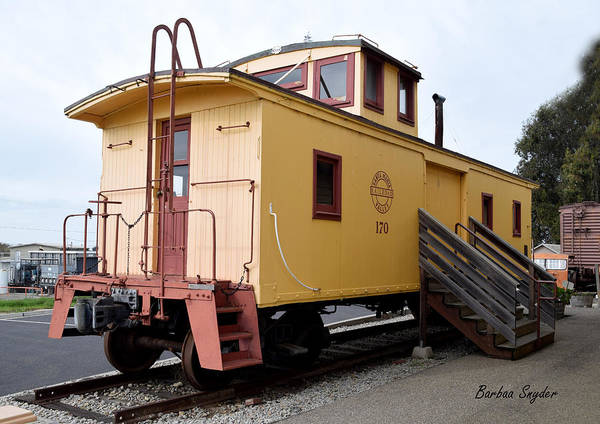 Red Caboose Painting - Oceano Depot Museum Caboose  by Barbara Snyder