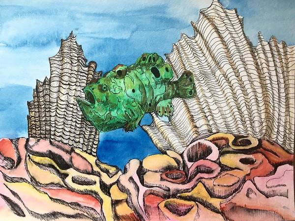 Painting - Ocellated Frogfish by Mastiff Studios